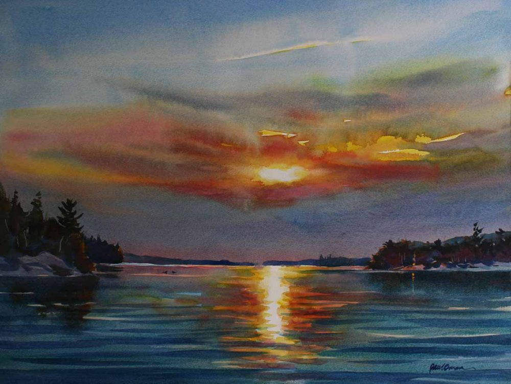 Northern Sunset - original watercolor by Paul Oman