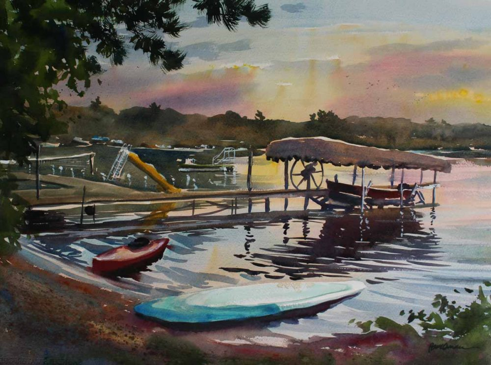 Camp Wapo Beach, Bear Trap Lake - original watercolor by Paul Oman