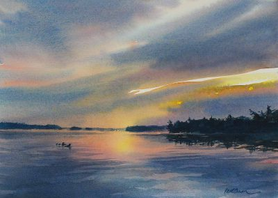 Reflections of Loon Lake - original watercolor by Paul Oman