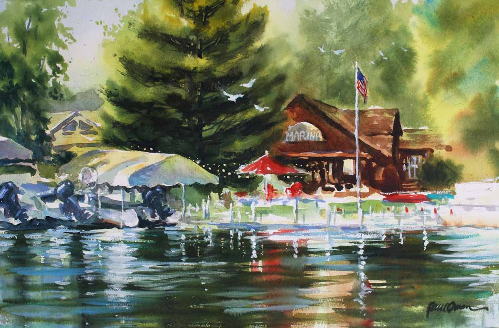 Safe Harbor, Mort's Marina - original watercolor by Paul Oman
