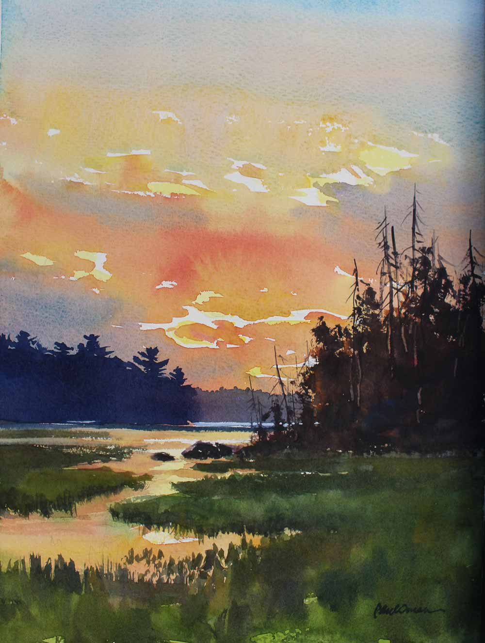 Wild Rice On Upper Pauness - original watercolor by Paul Oman