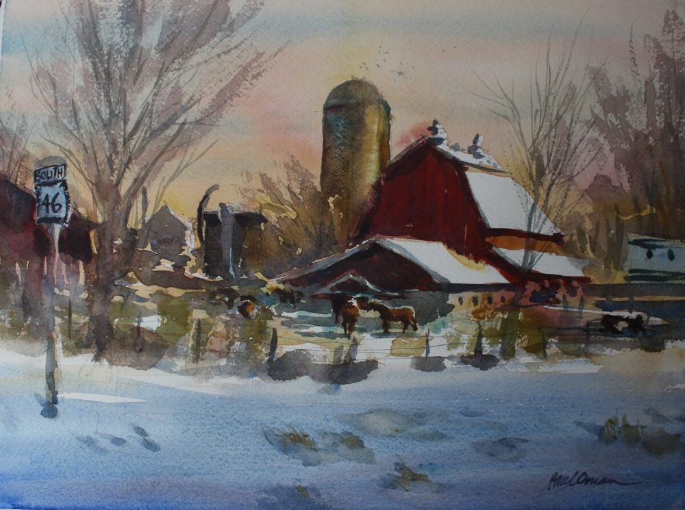 Clydesdale Farm watercolor Paul Oman