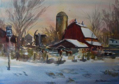 Clydesdale Farm watercolor Paul Oman
